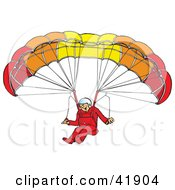 Happy Paraglider Descending And Connected To A Parachute