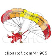 Amazed Paraglider Descending And Connected To A Parachute