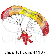 Surprised Paraglider Descending And Connected To A Parachute
