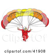 Clipart Illustration Of A Smiling Paraglider Connected To A Parachute by Snowy