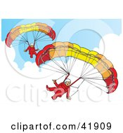 Two Paragliders Descending In The Sky