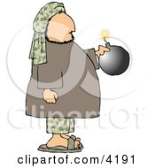 Male Suicide Bomber Holding A Bomb With A Lit Fuse Clipart by Dennis Cox