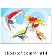 Clipart Illustration Of Four Hanggliders In The Sky by Snowy #COLLC41914-0092