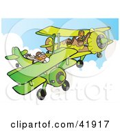 Clipart Illustration Of A Military Pilot Flying A Camouflage Plane Near Another Biplane