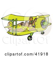 Clipart Illustration Of A Military Pilot Flying A Camouflage Combat Biplane