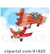 Clipart Illustration Of Two Pilots Flying Their Planes In The Sky by Snowy