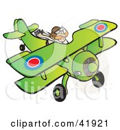 Clipart Illustration Of An RFC Pilot Flying A Biplane