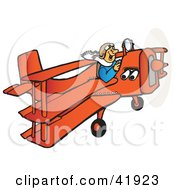 Clipart Illustration Of A Happy Male Pilot Flying An Orange Triplane
