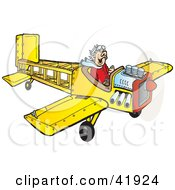 Clipart Illustration Of A Happy Pilot Flying A Yellow Wooden Plane by Snowy