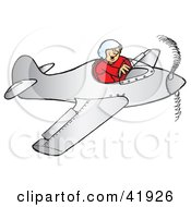 Clipart Illustration Of A Grinning Pilot Flying A Plane by Snowy