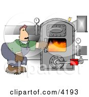 Man Opening The Door Of A Hot Boiler With Valves Clipart