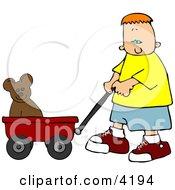 Boy Pulling His Teddy Bear In A Red Toy Wagon
