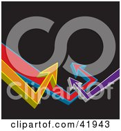 Clipart Illustration Of A Black Background With Colorful 3d Arrows Pointing Upwards Towards Blank Space
