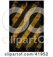 Clipart Illustration Of A Background Of Dark And Distressed Hazard Stripes by Arena Creative