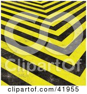 Clipart Illustration Of A Background Of Grungy Black And Yellow Hazard Stripes