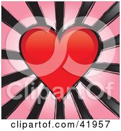 Red Heart With Black Grunge Lines On Pink