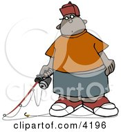 Ethnic Boy Holding A Fishing Pole Clipart