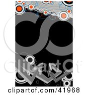Clipart Illustration Of A Black Background Bordered With Gray Arrows And Red And White Circles by Arena Creative