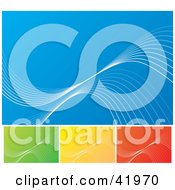 Clipart Illustration Of Four Blue Green Yellow And Red Background With Thin Waves Of White by Arena Creative