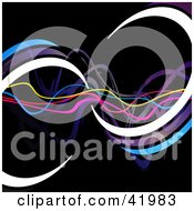 Clipart Illustration Of A Black Background Of Colorful Waves And Curls by Arena Creative