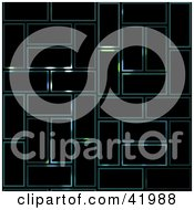 Clipart Illustration Of A Black Background With Faint Glowing Rectangle Text Boxes