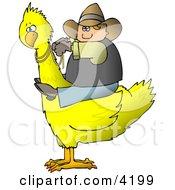 Cowboy Riding A Big Yellow Bird Clipart
