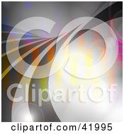 Clipart Illustration Of A Transparent Gray Wave Over A Background With Flares And Rainbow Colored Pixels by Arena Creative
