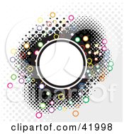 Clipart Illustration Of A Halftone Circle Background With Colorful Rings And A Blank White Center by Arena Creative