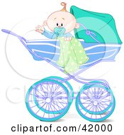 Clipart Illustration Of A Waving Baby Boy With A Blanket And Pacifier In A Carriage by Pushkin