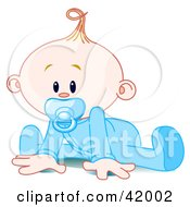Poster, Art Print Of Baby Boy In A Sleeper Sucking In A Pacifier And Trying To Crawl