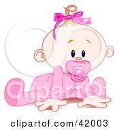 Poster, Art Print Of Baby Girl In A Sleeper Sucking In A Pacifier And Trying To Crawl
