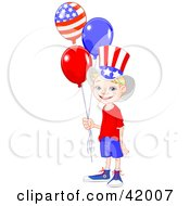 Happy American Boy Wearing The Stars And Stripes Holding Patriotic Balloons