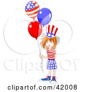 Happy American Girl Wearing The Stars And Stripes Holding Patriotic Balloons