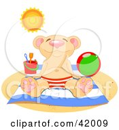 Clipart Illustration Of A Relaxed Bear Soaking Up The Sun On A Beach by Pushkin