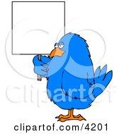 Big Blue Bird Holding A Blank Sign Clipart