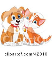 Clipart Illustration Of A Happy Brown Puppy And Orange Kitten Resting Their Cheeks Together