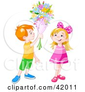 Clipart Illustration Of A Red Haired Boy Holding A Flower Bouquet Over A Little Girl by Pushkin