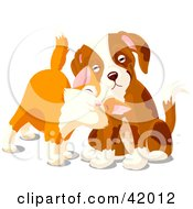 Clipart Illustration Of A Cute Orange Kitten Rubbing Against A Sad Puppy by Pushkin