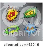 Clipart Illustration Of Four Colorful Super Hero Pow Oooof Zocko And Boff Sound Balloons