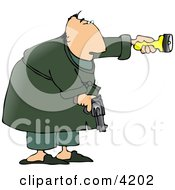 Alert Man At Night Pointing A Flashlight And Holding A Pistol Clipart