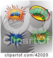 Clipart Illustration Of Four Colorful Super Hero Zlonk Bifff Thunk And Slosh Sound Balloons