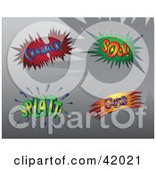 Clipart Illustration Of Four Colorful Super Hero Crack Sock Splatt And Swish Sound Balloons