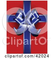 Clipart Illustration Of A Gift Wrapped In Red Paper Decorated With A Blue Ribbon And Bow