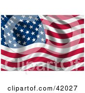 Clipart Illustration Of A Waving American Flag