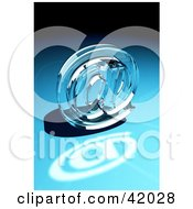 Glass At Symbol On A Blue Background