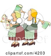 German Girls Dressed Wearing Traditional German Outfits And Holding Beer Steins And Pitchers Clipart