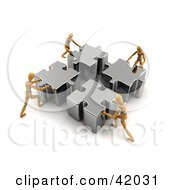 Clipart Illustration Of Four Orange Models Pushing Pieces Of A Puzzle Together
