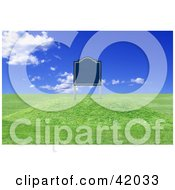 Clipart Illustration Of A Realistic Blank Sign On Undeveloped Land With Rolling Hills by stockillustrations