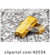 Clipart Illustration Of Golden Bars Resting On Bank Notes