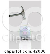 Clipart Illustration Of A Hammer Above A Nervous Opalescent Piggy Bank